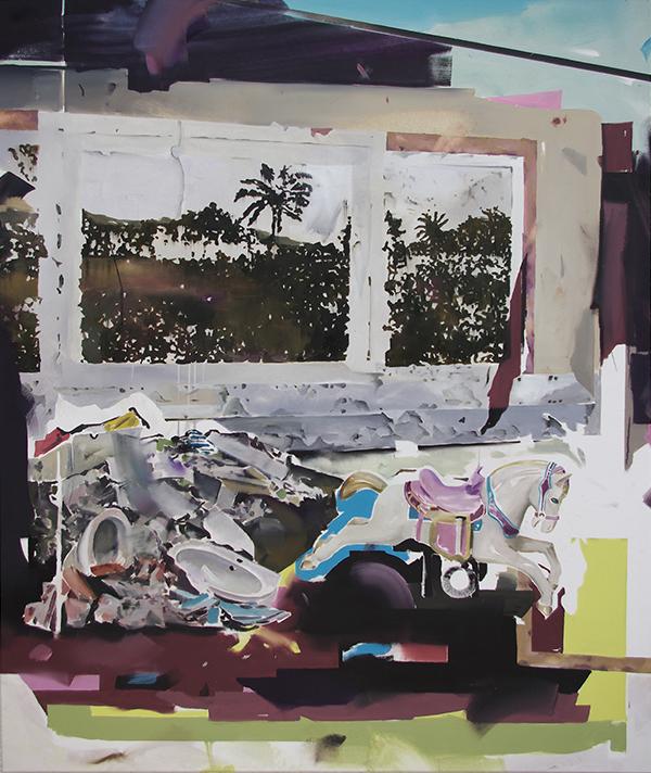 Christoph Rode, goldene Zitronen im Ponyhof Oil on Canvas (120cm x 100cm) 2018