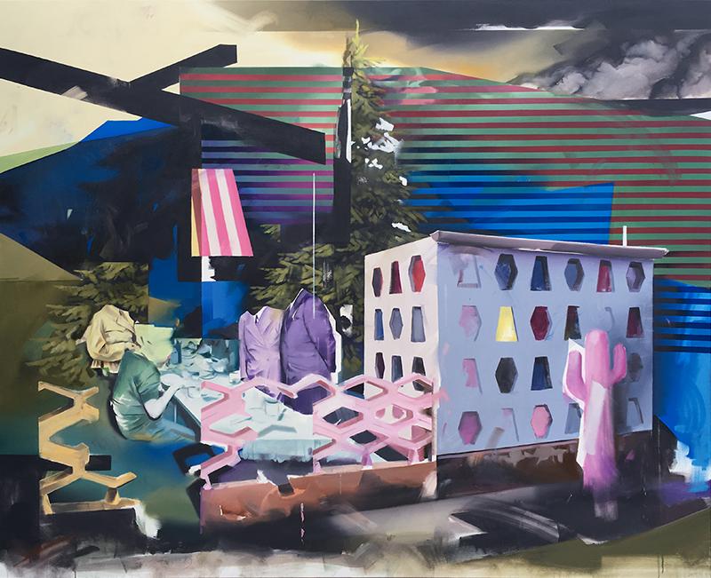 Christoph Rode, zarte Oblaten zu dekadenten Tischen, Oil on Canvas (140cm x 170cm) 2019