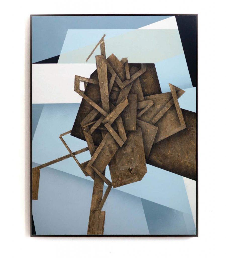 Dave Großmann, Collapse A04, 90 x 67 cm, Acryl, Gips und Sprühlack auf OSB, Schattenfugenrahmen