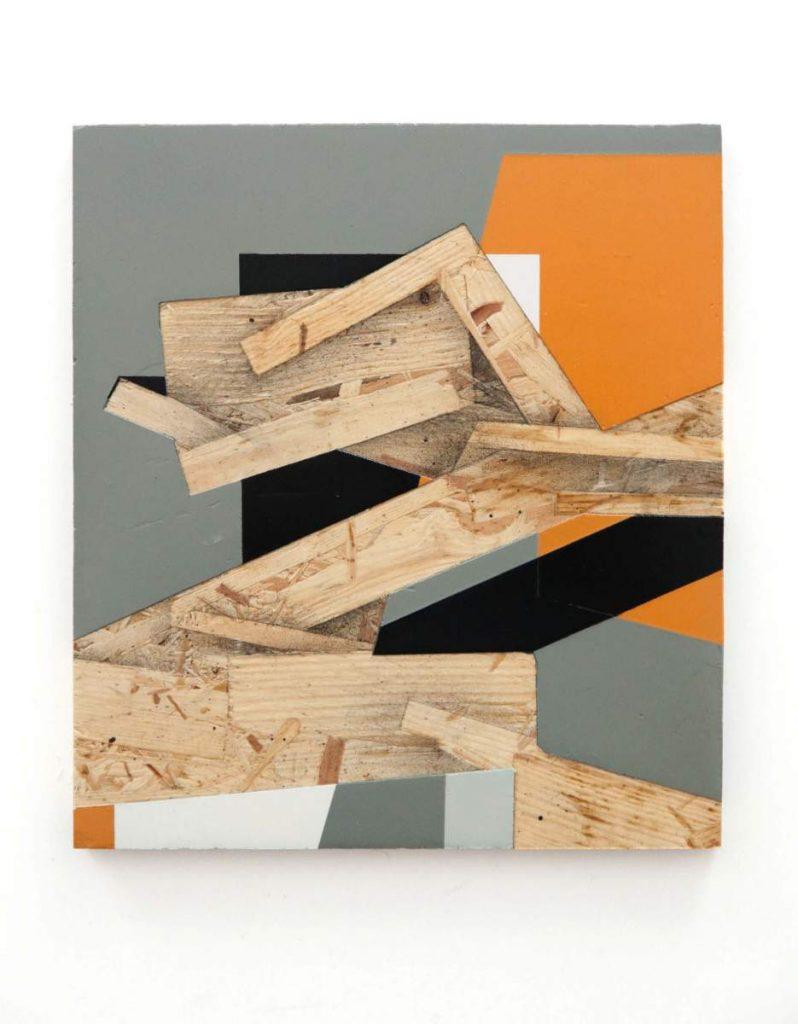 Dave Großmann, COLLAPSE A06, 31 x 28 cm, Gips und Sprühlack auf OSB, offener Eichenrahmen