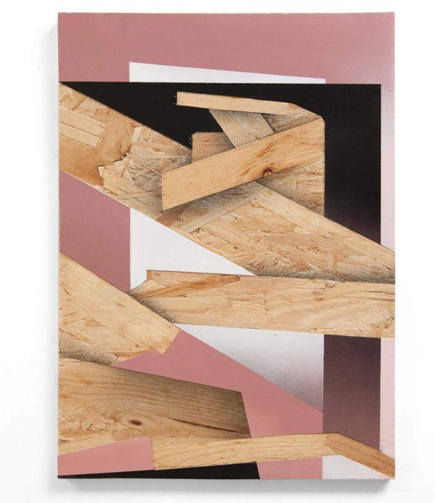 Dave Großmann, COLLAPSE A10, 43 x 31 cm, Gips und Sprühlack auf OSB, offener Eichenrahmen