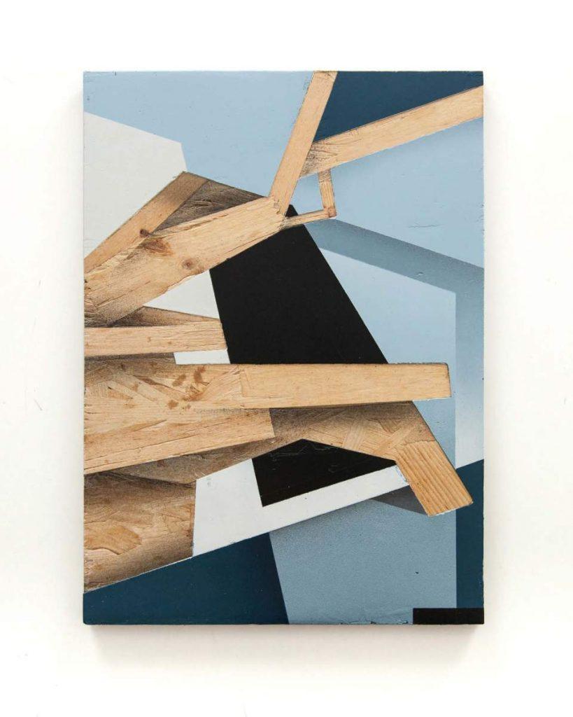Dave Großmann, COLLAPSE A13, 43 x 31 cm, Gips und Sprühlack auf OSB, offener Eichenrahmen
