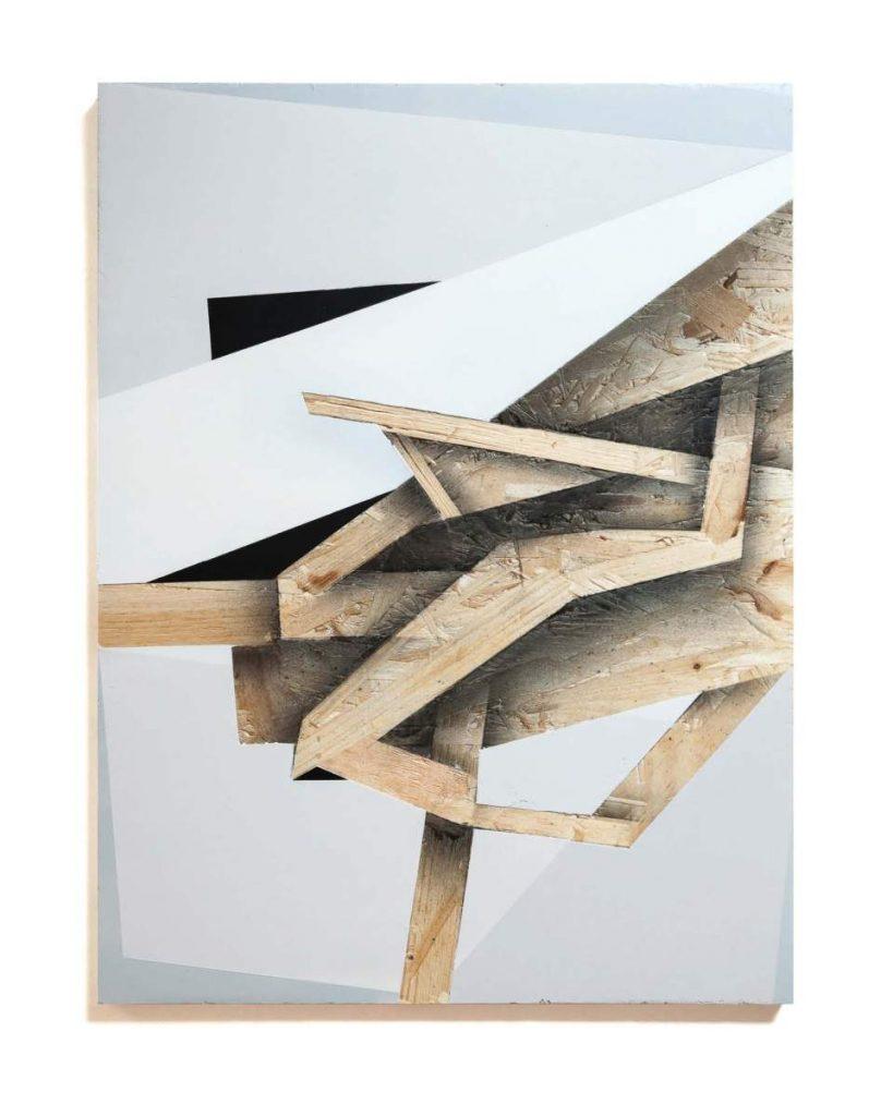 Dave Großmann, UNEXCITING COLLAPSE 02, 45 x 33 cm, Gips und Sprühlack auf OSB offener Eichenrahmen