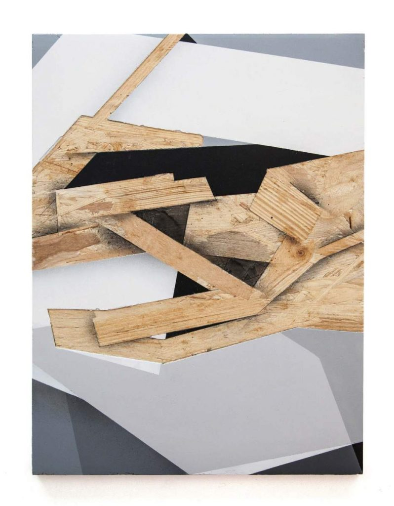 Dave Großmann, UNEXCITING COLLAPSE 03, 45 x 33 cm, Gips und Sprühlack auf OSB offener Eichenrahmen