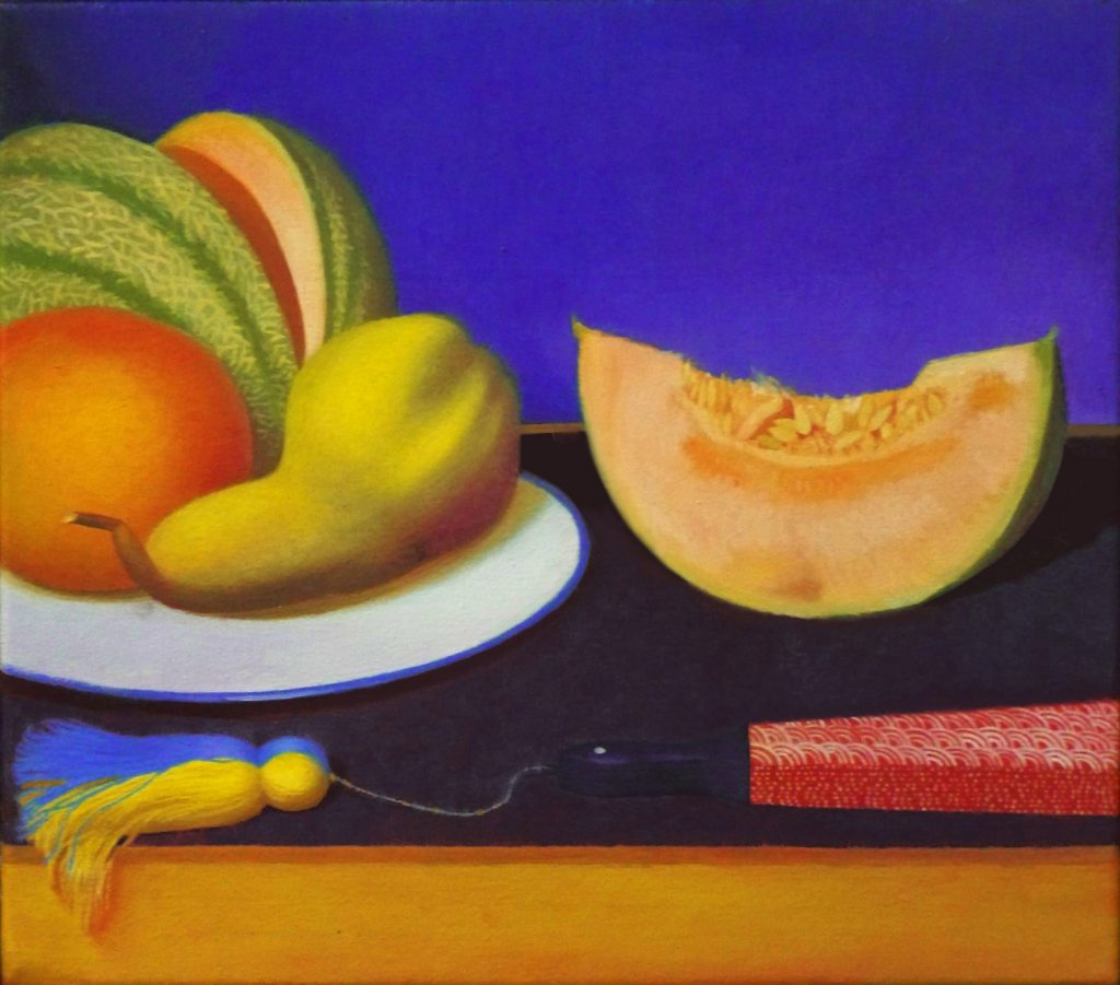 Stilleben mit Obst und Fächer, Oil on canvas (29 x 33 cm) 2013