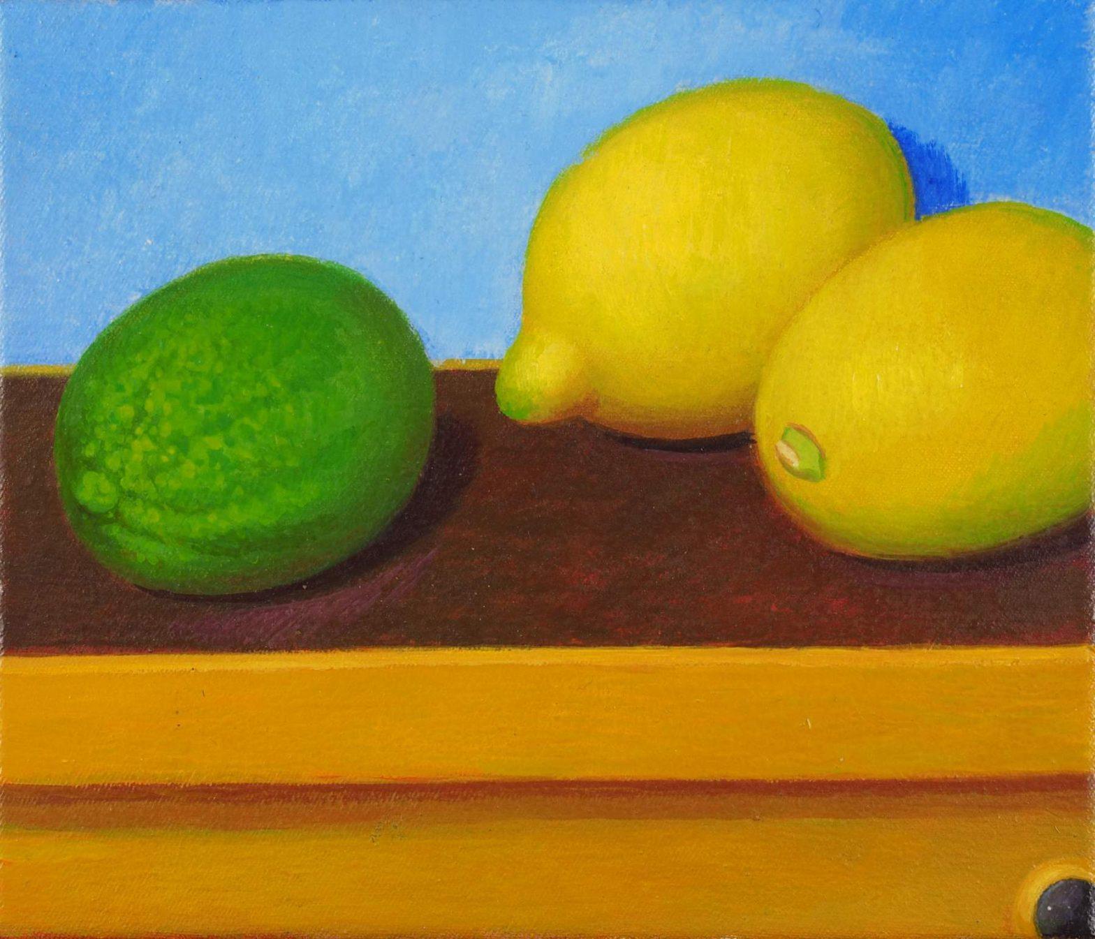 Stilleben mit Zitronen und Limette, Oil on canvas (18 x 21 cm) 2014