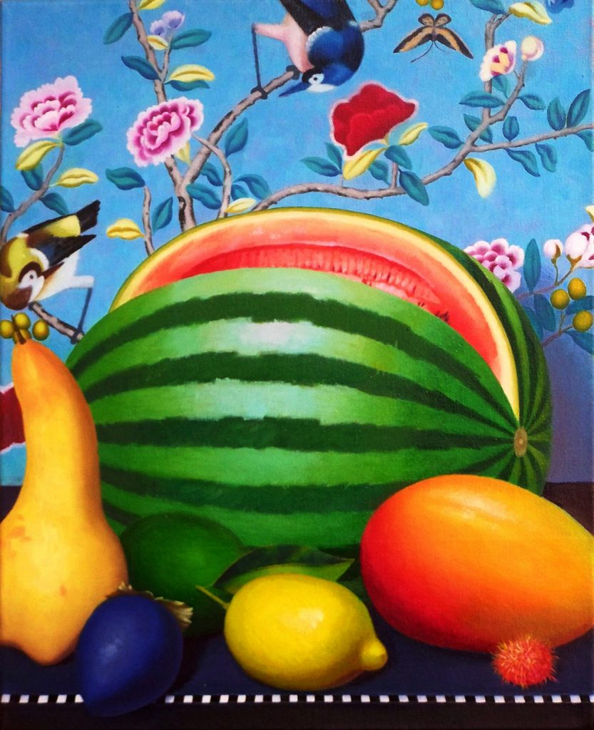 Stilleben mit gestreifter Melone, Oil on canvas (50 x 40 cm) 2014