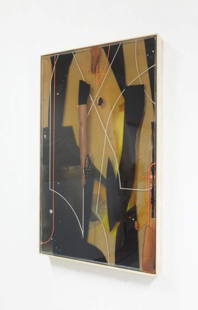 -lines and pieces-, 82x52cm, Acryl und Epoxidharz auf Leinwand geschichtet, gerahmt