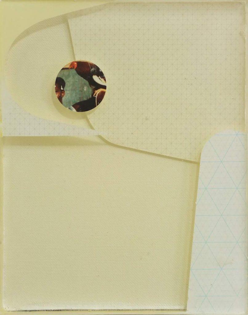 -quiet and loud-, 26x21cm, Vinylfarbe, Transferdruck und Gießharz auf Leinwand geschichtet