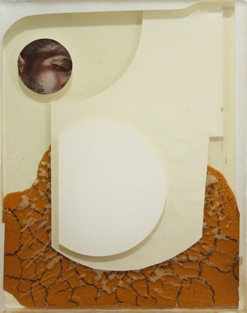 -quiet and loud 9-, 26x21cm, Vinylfarbe, Transferdruck, Erde und Gießharz auf Leinwand geschichtet