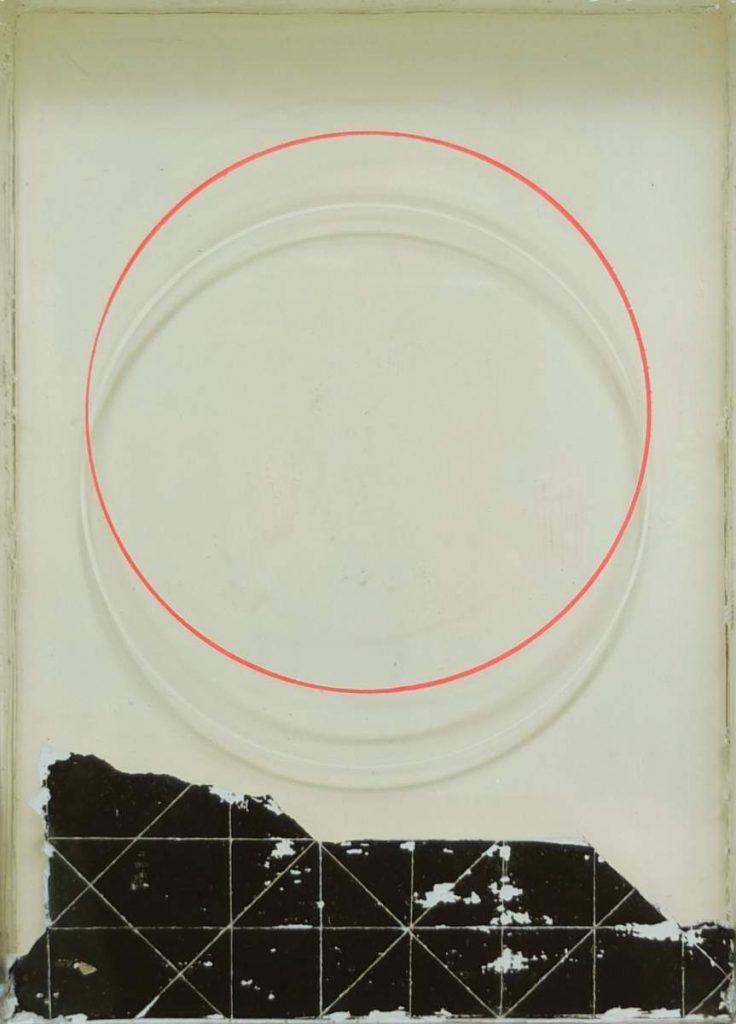 -r-, 23x17cm, Acryl, Transferdruck, Epoxidharz auf Holz geschichtet