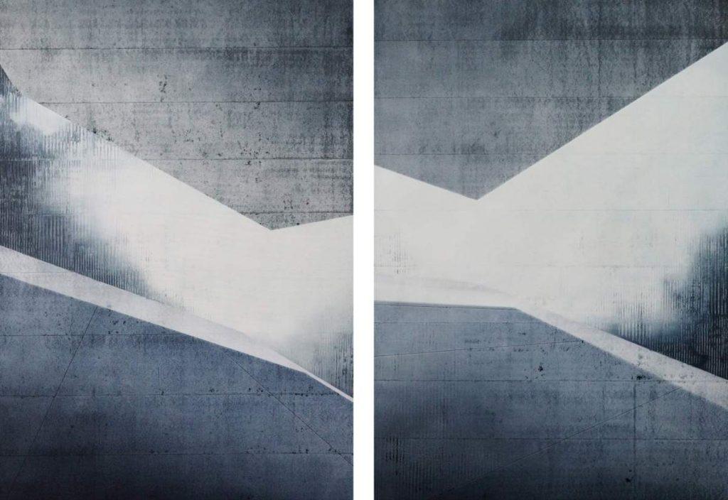 Kante I & II, Spraypaint & Acrylic on Canvas (100x70cm each) 2019
