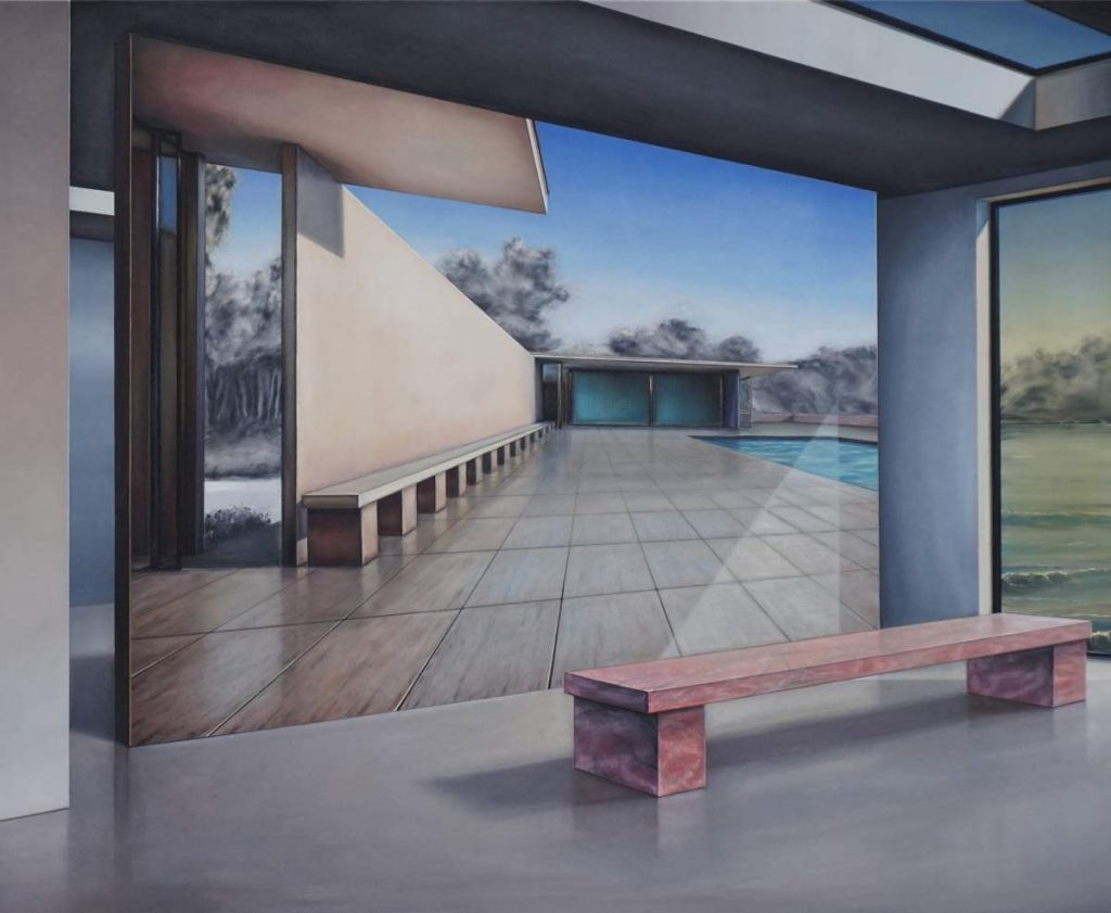 Pavillon inner space, 2019, 130x150cm, Oil on Canvas