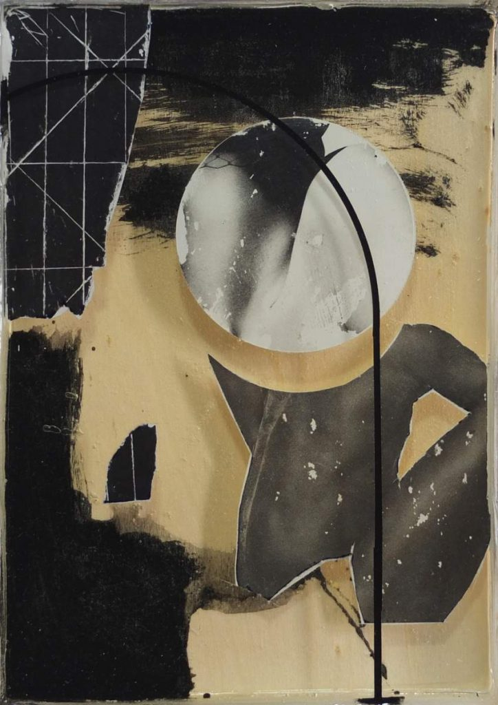 -trouble 5-, 23x17cm, Vinyl, Transferdruck und Epoxidharz auf Holz geschichtet